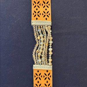 Jewelry - SALE! Blue stones vegan leather bracelet.